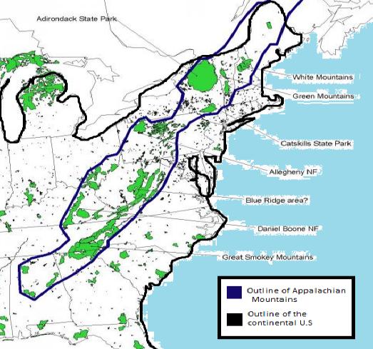 UWL Website - Eastern us mountain ranges map